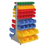 Double Sided Free Standing Rack With Bins